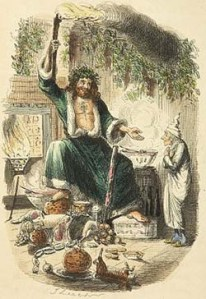 Ebenezer meets the Ghost of Christmas Present. Artwork in the original novella published in 1843.